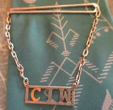 "True Vtg Estate Mens Silvertone Tie bar Clasp Monogram ""C.I.W."" Chain Usa"