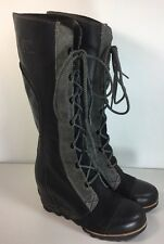 Sorel Cate The Great Wedge Tall Black Boots Size 7.5