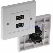 HDMI TWIN CABLE LEAD DOUBLE FACE WALL PLATE WHITE 2 FEMALE CABLE SOCKETS HDTV TV