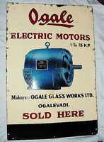 Ogale electric motors VINTAGE DEALER'S PORCELAIN ENAMEL SIGN CIRCA 1930 RARE
