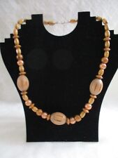 Wooden Bead and manufactured pearl Necklace - African Trade Beads
