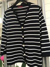 Trent Resort Black /white Stripes Knitted Long Sleeve  Cardigan Size L