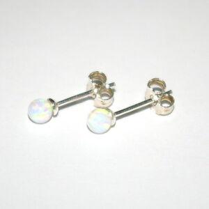 4mm White OPAL 925 Sterling Silver Stud Earrings - Genuine Silver