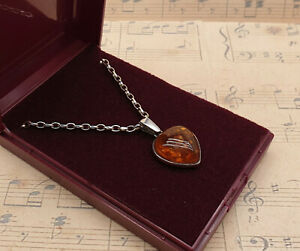 Vintage 925 Sterling Silver and Baltic Amber Heart Pendant Necklace with Box