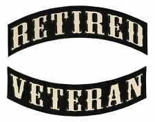 RETIRED VETERAN ROCKERS Military Large Motorcycle Jacket Patches Iron On 2pc.Set