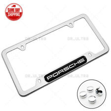 For Porsche Brand New License Frame Plate Cover Stainless Steel Chrome Sport