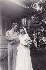 Old Antique Vintage Photograph Bride & Groom Standing Together in Garden