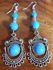 turquoise QUARTZ  DANGLE DROP LADY,S EARRINGS