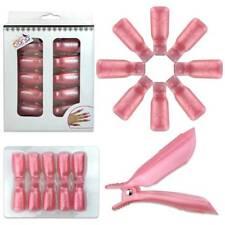 2pks Bow Ribbon Style Pink Acrylic Nail Soak Off Finger Cap Clips Wrap Tool