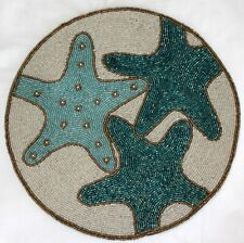 """New listing Beaded Starfish Placemat Place Mat Under the Sea Ocean Gold Pearl 14"""" Round"""