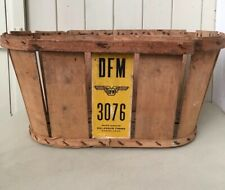French Vintage Storage Wood Basket Container Man Cave Rustic Collectible Retro