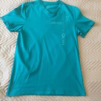 Calvin Klein Mens T-Shirt Top Size Small Body Fit Turquoise Blue 100% Cotton