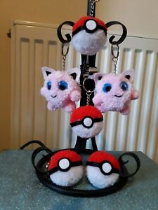 Pokemon pink jigglypuff keychain and poke ball pom pom ball keyring bag hanger