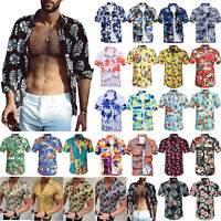 Mens Floral Short Sleeve Luau Tropical Hawaiian Shirts Beach Holiday Tops Blouse