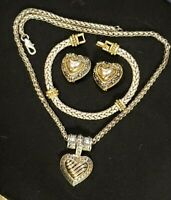 Vtg BRIGHTON-Style Parure HEART MOTIF Gold/silver-tone N-lace, bracelet, Ear Set