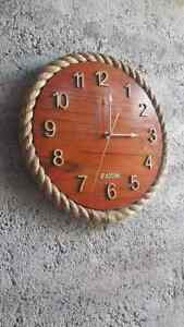 Vintage Wooden Clock Wall Rustic Numerical Modern Large Hand Carved Home Decor