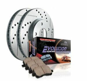 Power Stop K196 Front Ceramic Brake Pad and Cross Drilled Slotted Combo Rotor O