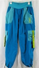 Zumba Cargo Pants - Aqua with Lime Green - Size Large