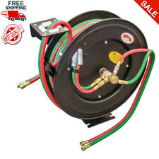 "50ft Retractable Torch Welding Reel 1/4"" Oxygen Acetylene Auto Rewind Twin Hose"