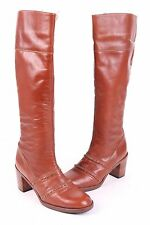 """VINTAGE """"COBBIES"""" LEATHER KNEE HIGH STACKED HEEL BOOTS WOMENS SIZE 7.5 B"""