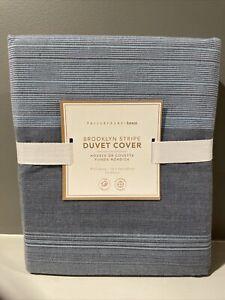 Pottery Barn Teen Brooklyn Stripe Duvet Cover Full Queen Blue Multi New Pbteen