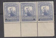 PERU, 1895 President's Installation 1c. Slate Violet, ABN Punched Proof,strip 3