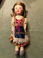 Vintage Hungarian 1930s 40s Paper Mache Painted Doll Cloth Body Blond Braids