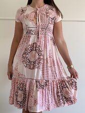 JAASE Pink Floral Boho Print Tie Neckline Midi Dress Size S AU 10 Hippie Beach