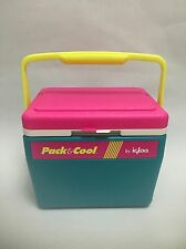 Vintage 1980s Pack & Cool IGLOO Cooler Ice Chest Neon Yellow Teal Hot Pink White