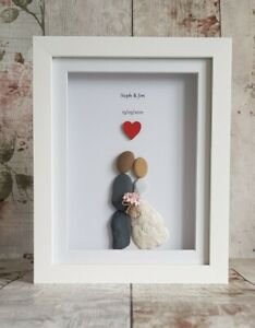 Personalised Framed Pebble Art Picture. Wedding, anniversary, engagement gift