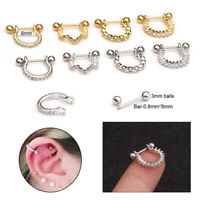 Stainless Steel Barbell With Cz Hoop Cartilage Helix Ear Piercing Earring Hot