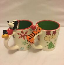 Lot 2 Vtg DISNEY Holiday Mugs-- Mickey Mouse & Tigger Distributed by J C Penny