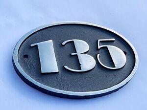 Cast Aluminium Art Deco Oval House Door Number Sign Address Solid Metal