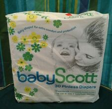 Vintage Baby Scott Disposable Diapers 30 Pinless Shaped NIP 1970 Small Paper USA