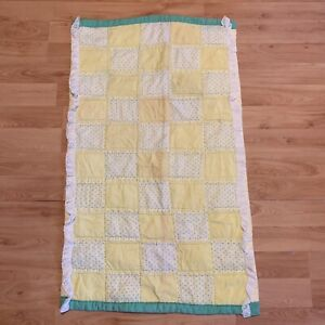Handmade Vintage Baby Quilt Yellow Green Crib Blanket Block Check Plaid Classic