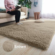 Fluffy Rug Anti-Slip Comfortable Shaggy Rug Soft Carpet Mat Brown 60*120cm
