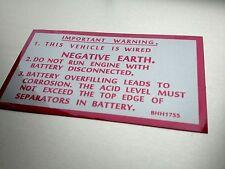 MG Midget 1500 Sticker Service Mechanic Warning advice car wired Negative Earth