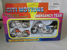 Citi Motions Emergency Team 3 Diecast Motorcycle Police Set Tampos Free Wheeling