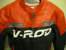 NEW Harley Davidson V-Rod XXL XL Orange Black Leather Motorcycle jacket VROD WOW
