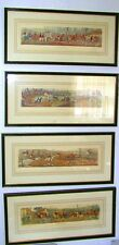 4 Hunting Hand–Colored Antique Engravings Henry Alken Framed & matted.