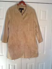 Centigrade Washable Womens Beige 3/4 Length Suede Coat   2 XL 5 Buttons Front