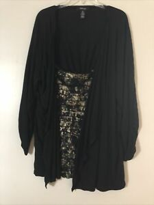 Style & Co Woman Two In One Twin Set Open Front Overlay Shell Black & Gold 3X