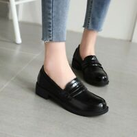 Womens Loafers Round Toe Flats Low Heel PU Leather Lolita Gothic Retro Lady Shoe