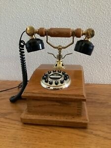Vintage Wooden Retro Land Line Corded Telephone by Formula Electronic Corp-USED