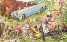 Mainzer Hartung PC 4981 Dressed Cat Family Barbecue Cookout Bears Break into Car