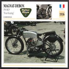 1936 Magnat-Debon 350cc BCP Four-Bearing Motorcycle Photo Spec Sheet Info Card