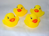 NEW SET OF 4 YELLOW BATH DUCKS FLOATING & SQUEAKING TOYS SIL