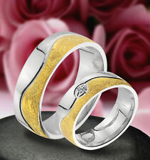 2 SILBER Trauringe Verlobungsringe Eheringe mit Stein & GOLD PLATIERT , J176-1