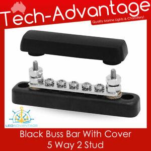 12v 24v Black Buss Bar with Cover 5 Way 2 Stud Connection Distribution Boat/Car