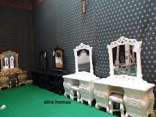 Silver Leaf rococo table de maquillage + miroir et tabouret... pour Rococo français lit